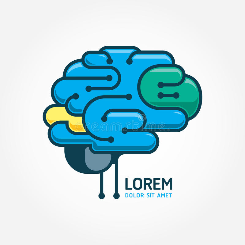 商标脑子传染媒介模板 脑子畸变概念 摘要 向量例证