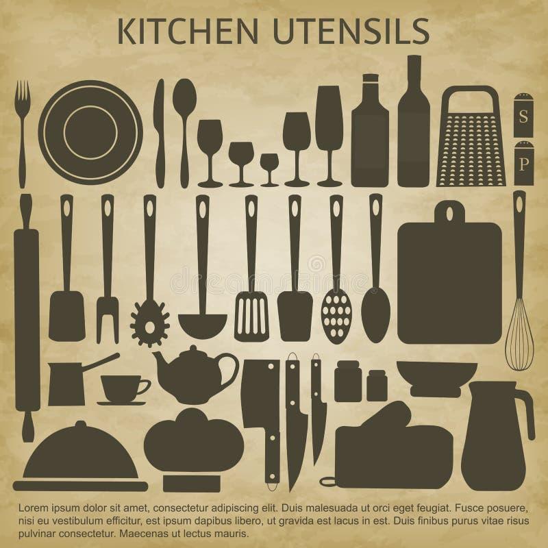 商标被设置的厨房象 向量例证