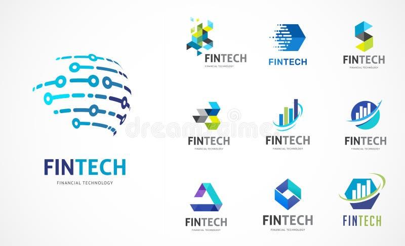 商标设置了- fintech、blockchain、技术、生物工艺学、技术象和标志 皇族释放例证