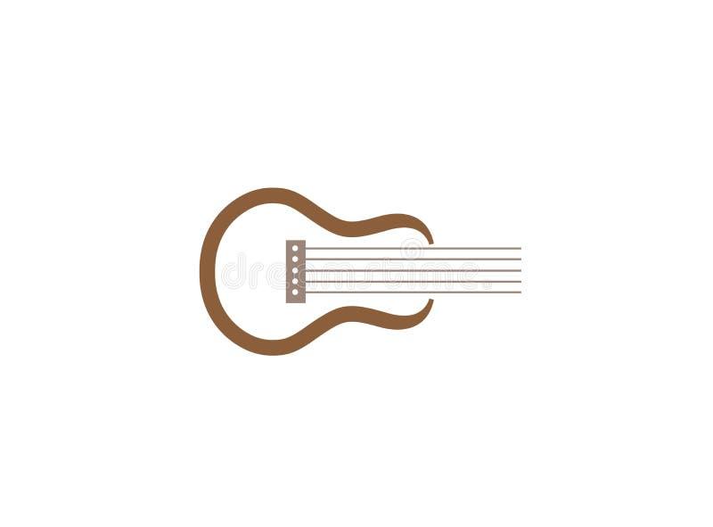 商标设计例证的古典吉他标志 向量例证