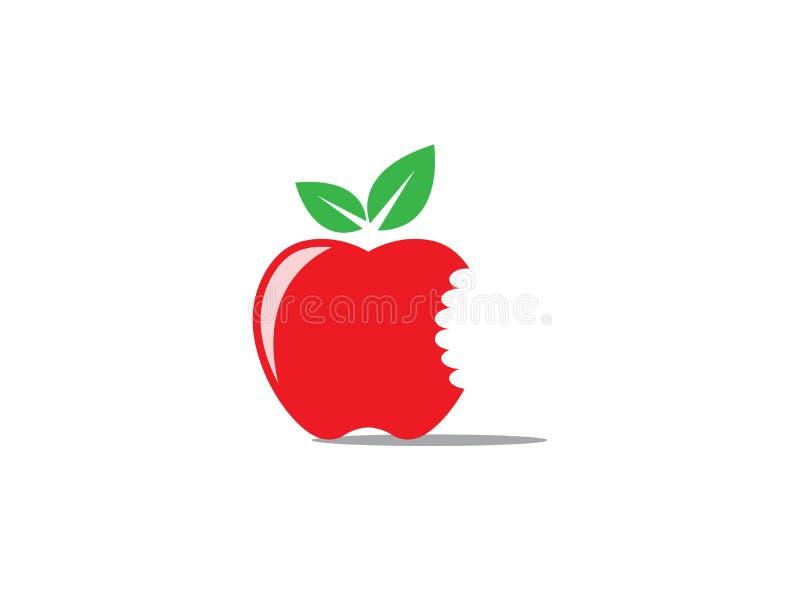 商标设计例证的叮咬红色苹果在白色背景 库存例证