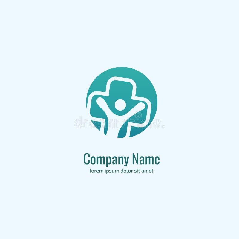 商标设计摘要医疗传染媒介模板 略写法十字架健康标志,人们例证设计关心标志 向量例证