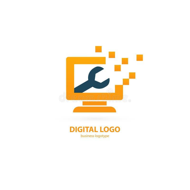 商标设计摘要计算机修理传染媒介模板 向量例证