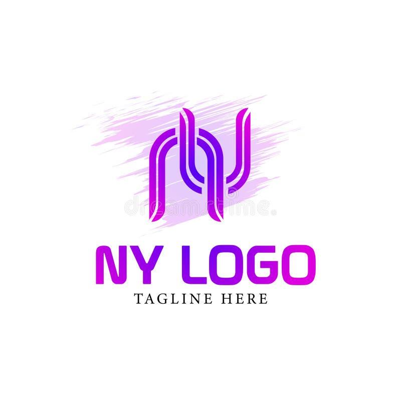 商标设计最初字体n y 库存例证