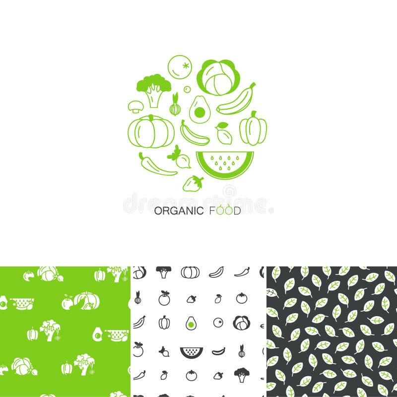 商标设计模板和无缝的样式的传染媒介汇集-新鲜的健康在线性样式做的水果和蔬菜 库存例证