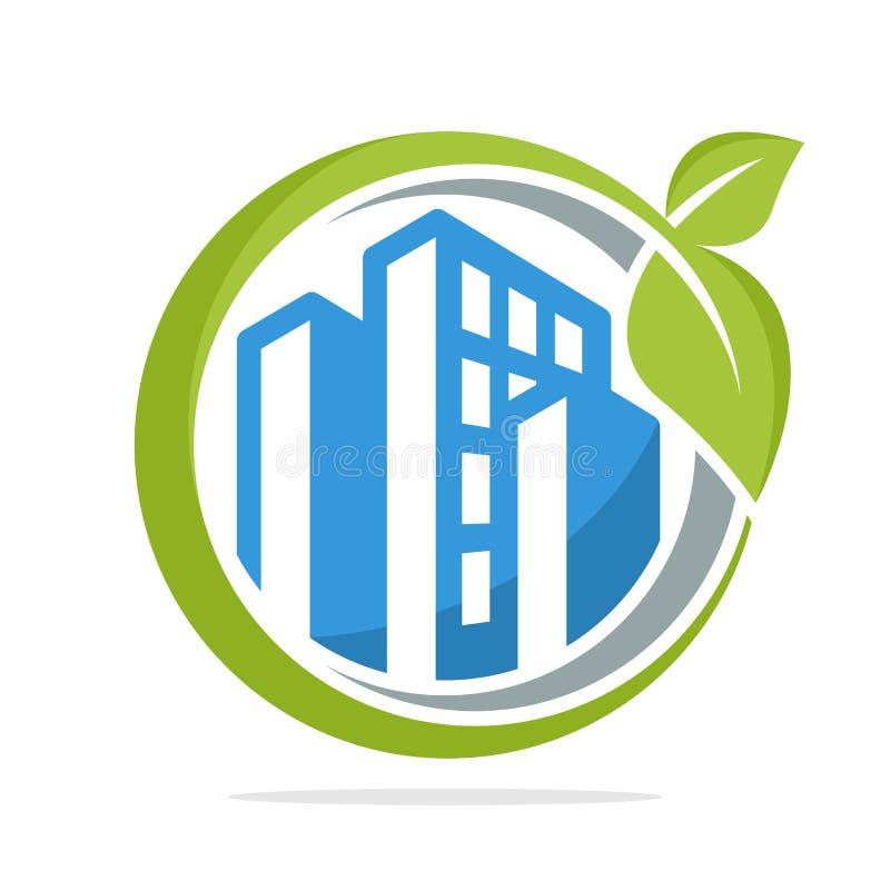 商标象与绿色城市的管理概念的圈子形状 库存例证
