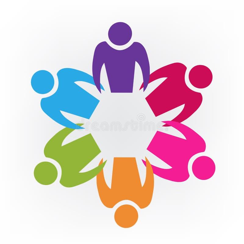 商标配合拿着手五颜六色的传染媒介略写法的团结人设计 库存例证