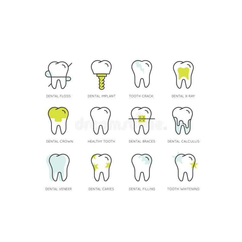 商标集合徽章或牙齿保护和疾病、治疗概念、牙治疗畸齿矫正术和手术 库存例证