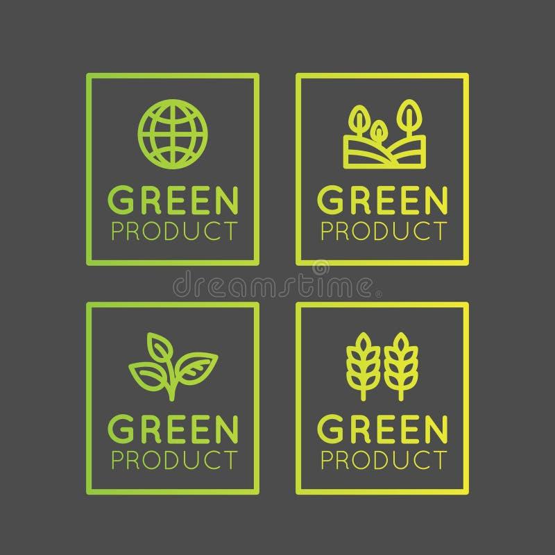商标集合徽章新鲜有机, Eco产品,与叶子,地球,绿色概念梯度颜色的生物成份标签徽章 库存例证