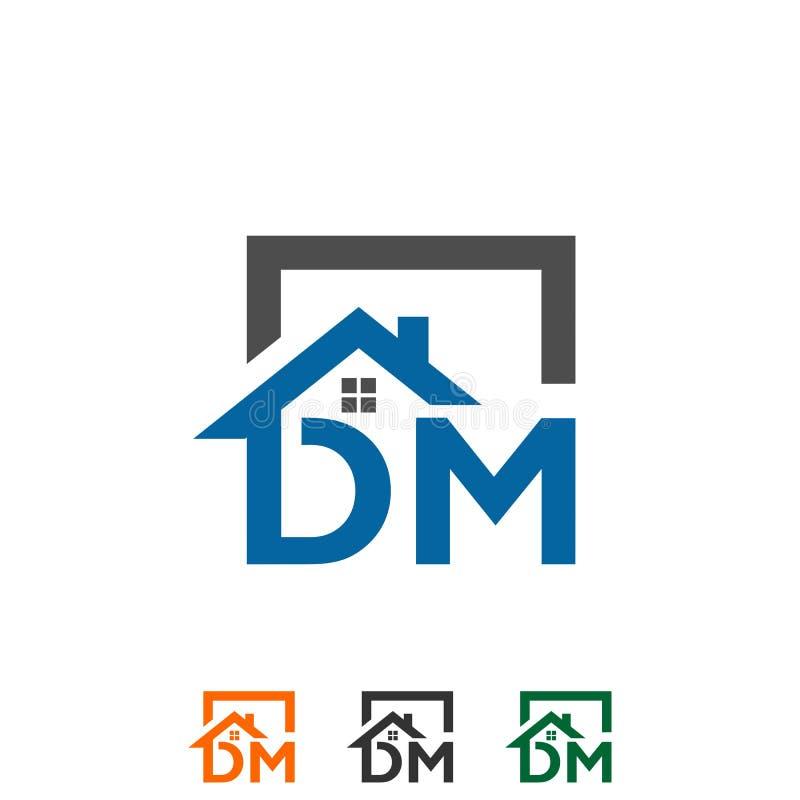 商标首写字母` DM `屋顶家房地产,建筑 皇族释放例证