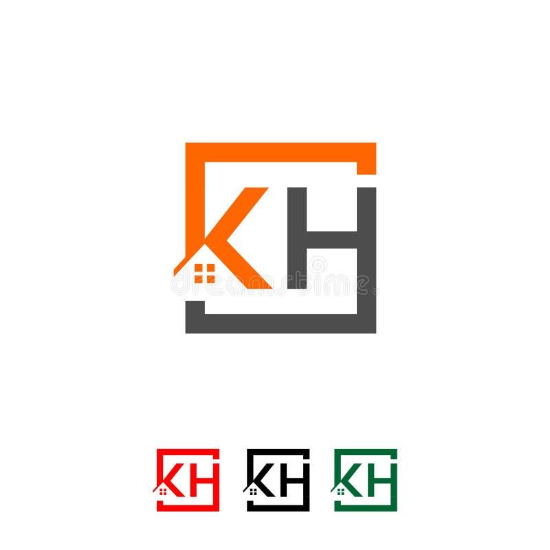 商标首写字母` KH `屋顶家房地产,建筑 向量例证