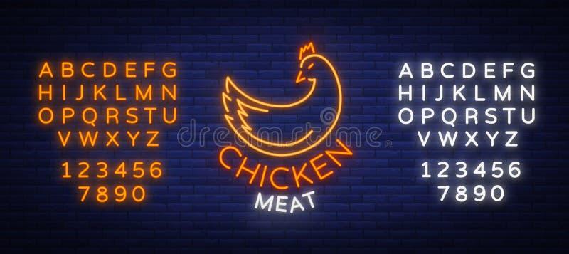商标鸡肉,象征,签到霓虹样式被隔绝,传染媒介例证 霓虹横幅,明亮的霓虹灯广告,发光 向量例证