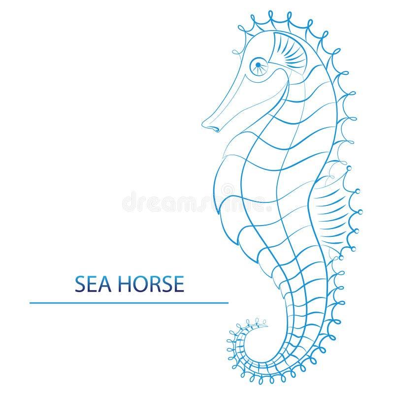 商标-蓝色SeahorseÂŒ 向量例证