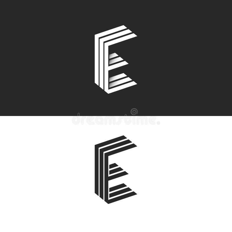 商标E信件,最初的组合图案象征,等量几何形状,黑白图形设计元素 向量例证
