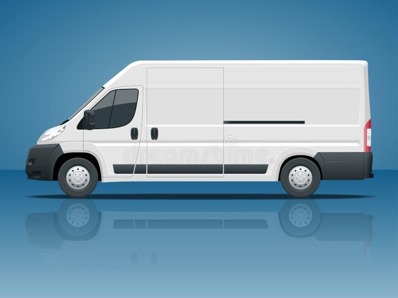 商用车或后勤汽车 在蓝色背景侧视图变化隔绝的货物微型货车颜色在一点击上 向量例证