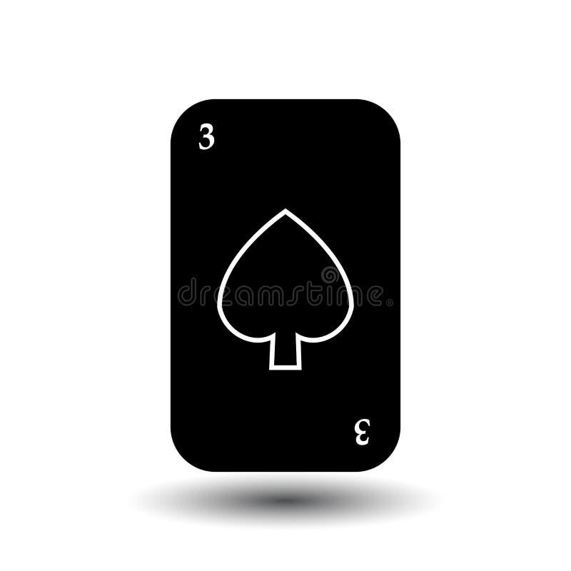 啤牌卡片 三黑铁锹 分开的白色背景 向量例证