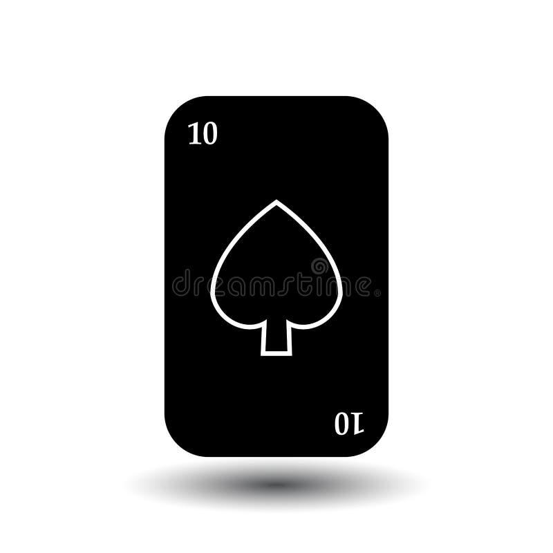 啤牌卡片 十黑铁锹 分开的白色背景 向量例证