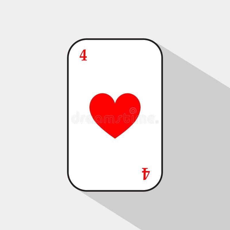 啤牌卡片 四重点 容易地是白色的背景可分开的 皇族释放例证