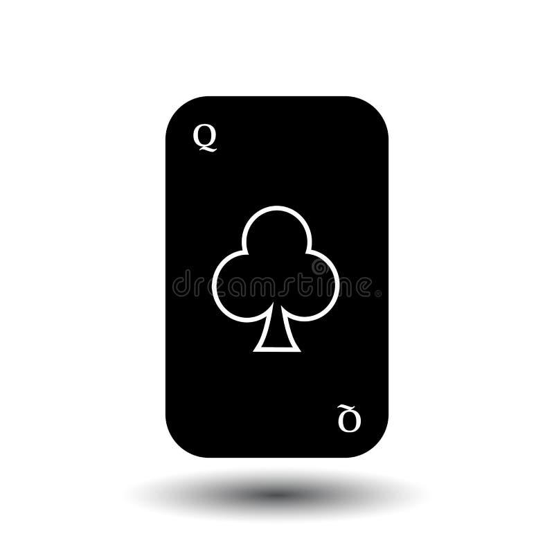 啤牌卡片 女王/王后俱乐部黑色 白色容易分离背景 皇族释放例证