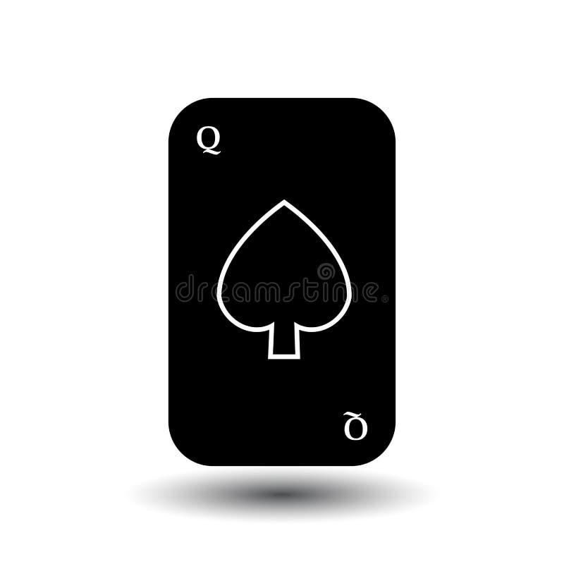 啤牌卡片 女王/王后黑铁锹 分开的白色背景 向量例证