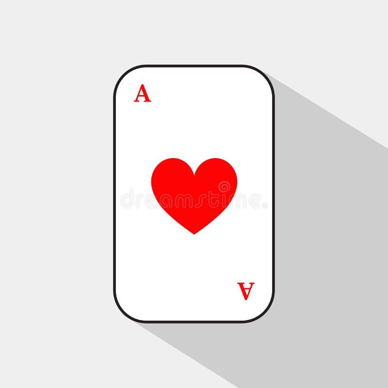 啤牌卡片 心脏一点 容易地是白色的背景可分开的 皇族释放例证