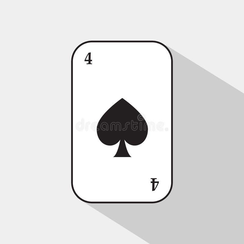 啤牌卡片 铁锹四 容易地是白色的背景可分开的 库存例证