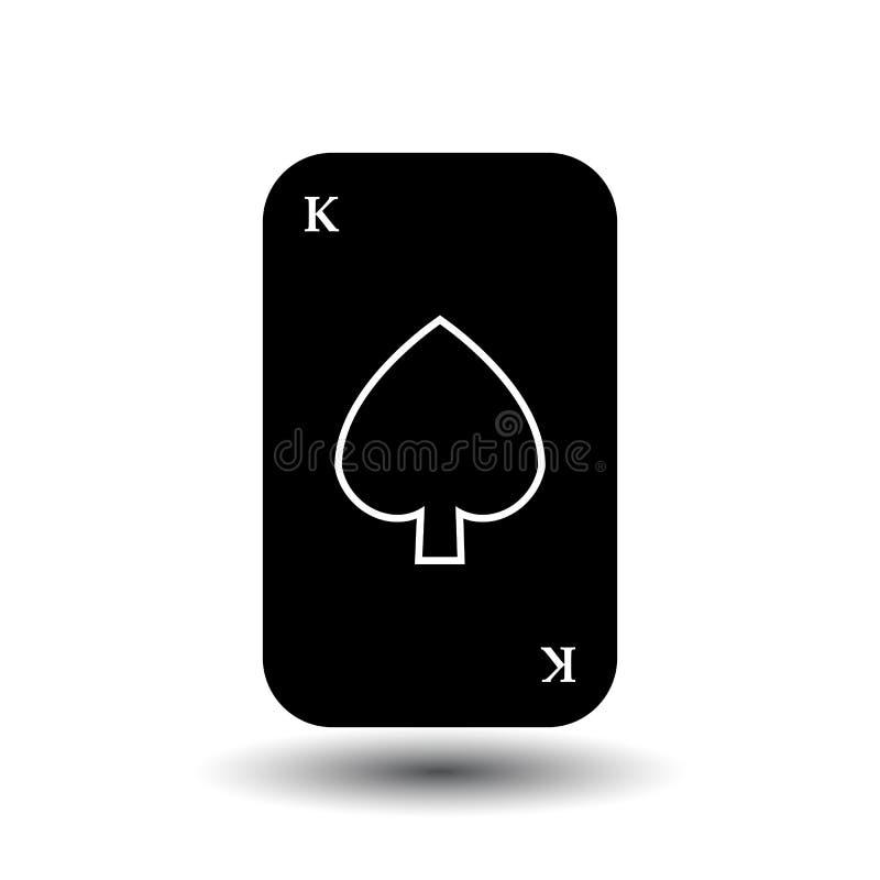 啤牌卡片 OF BLACK SHOVEL国王 分开的白色背景 库存例证