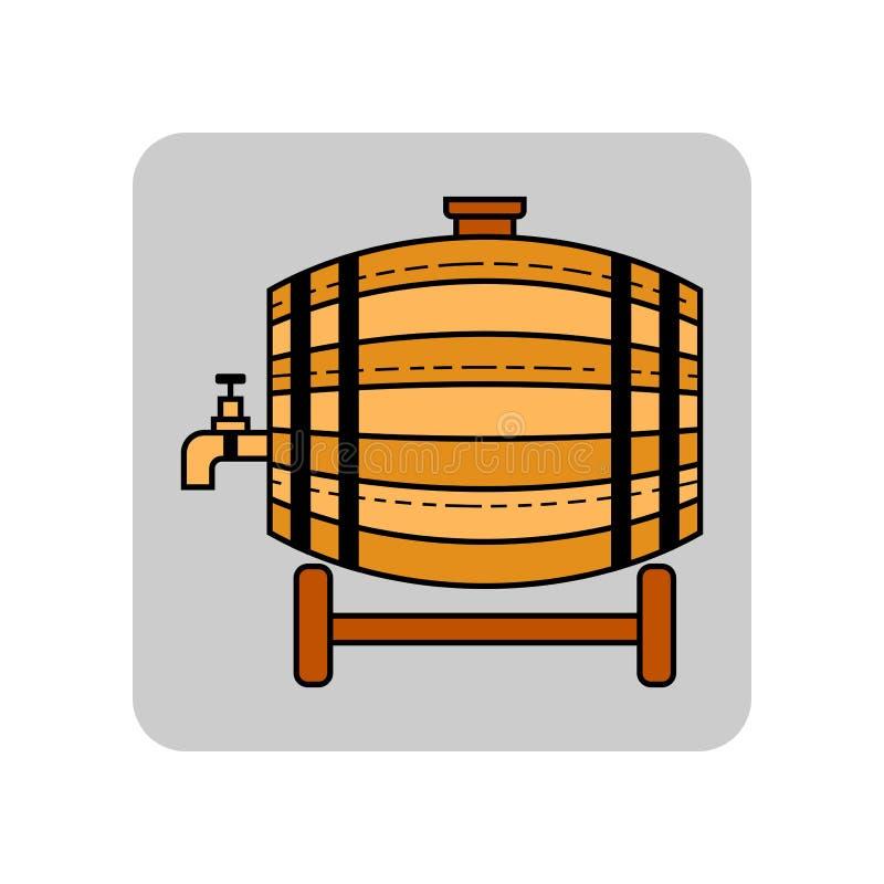 啤酒、水和饮料的木桶 站点的平的象,事务 也corel凹道例证向量 皇族释放例证