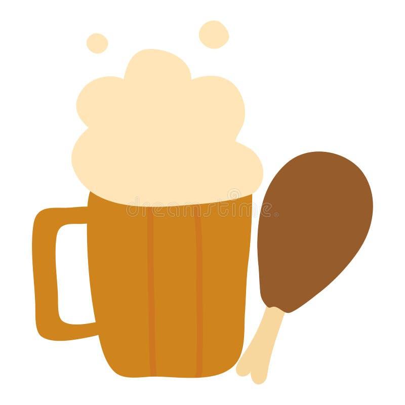 啤酒与鸡大腿的瓶子饮料 库存例证