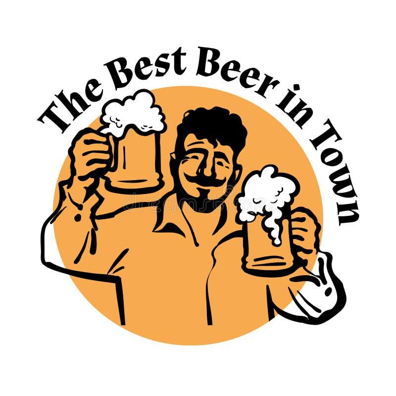 啤酒人抢劫二 最佳的啤酒在镇里 向量 皇族释放例证