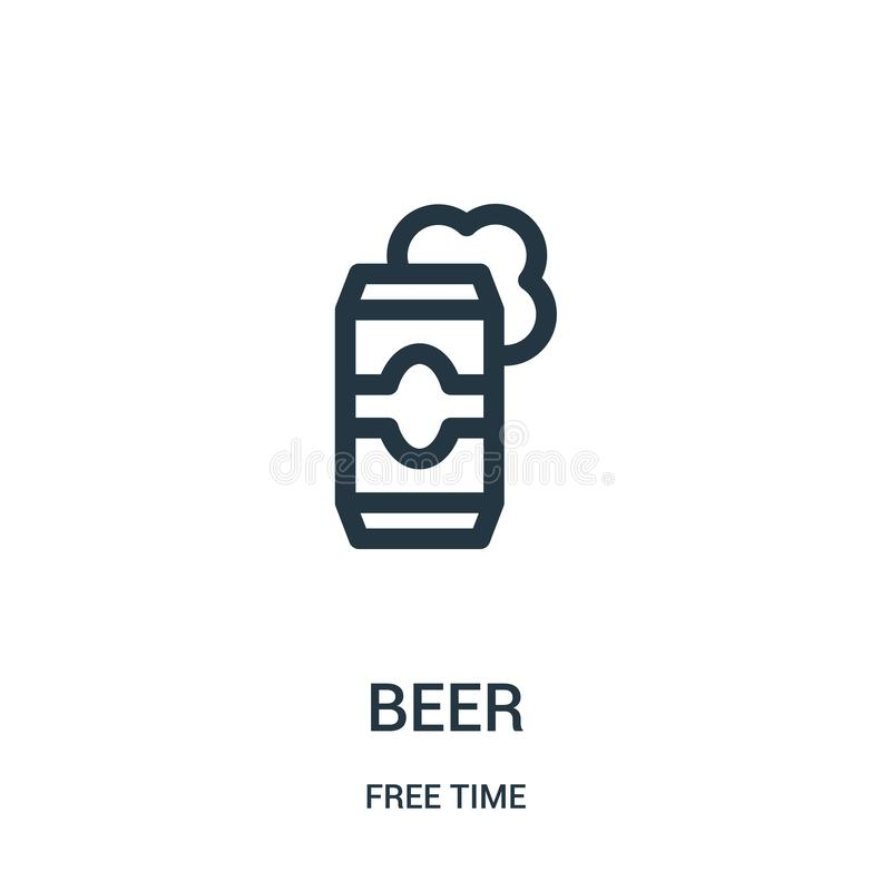 啤酒从时间汇集的象传染媒介 稀薄的线啤酒概述象传染媒介例证 线性标志为在网的使用和 皇族释放例证