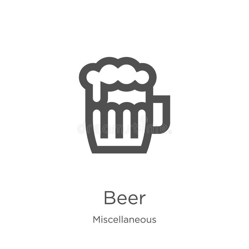 啤酒从混杂收藏的象传染媒介 稀薄的线啤酒概述象传染媒介例证 概述,稀薄的线啤酒象为 库存例证