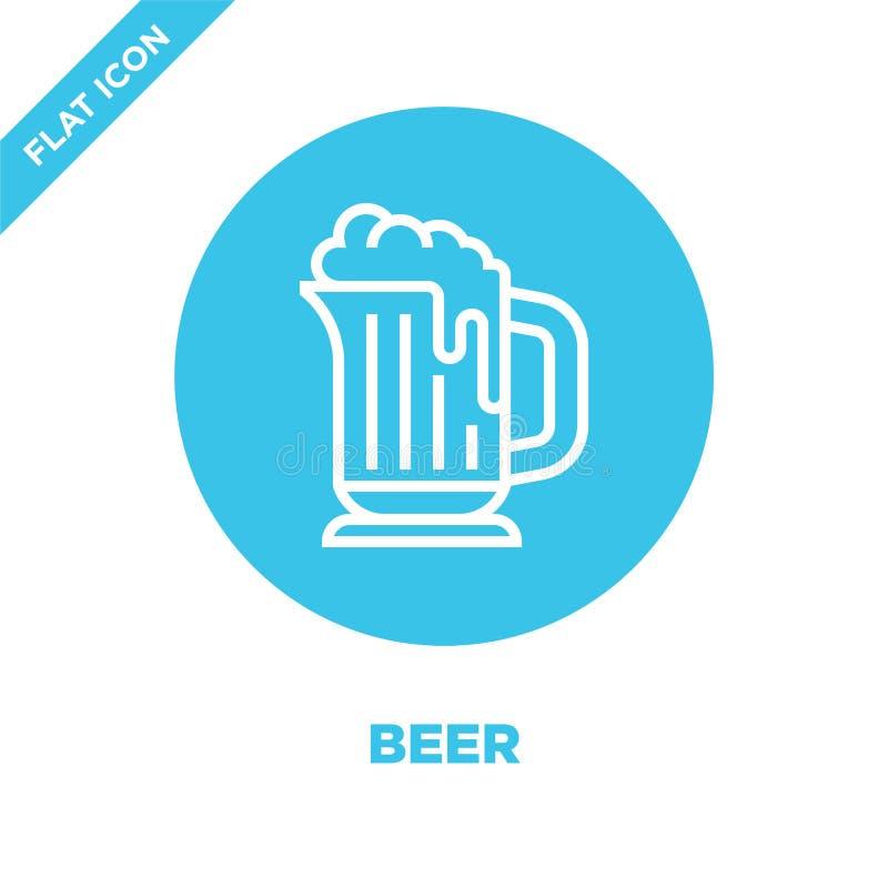 啤酒从饮料汇集的象传染媒介 稀薄的线啤酒概述象传染媒介例证 线性标志为在网的使用和 向量例证
