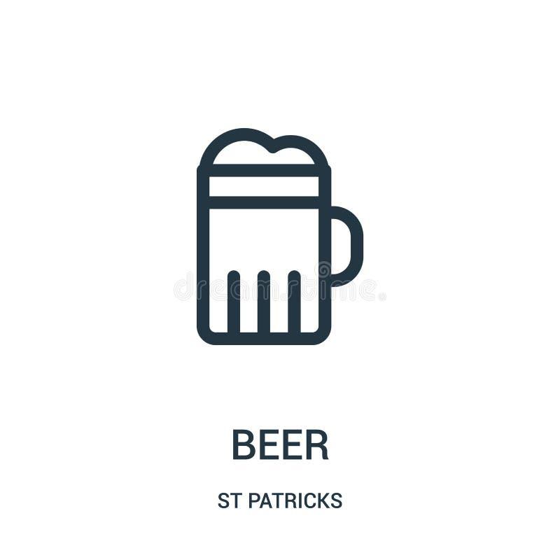 啤酒从st patricks汇集的象传染媒介 稀薄的线啤酒概述象传染媒介例证 线性标志为在网的使用和 皇族释放例证