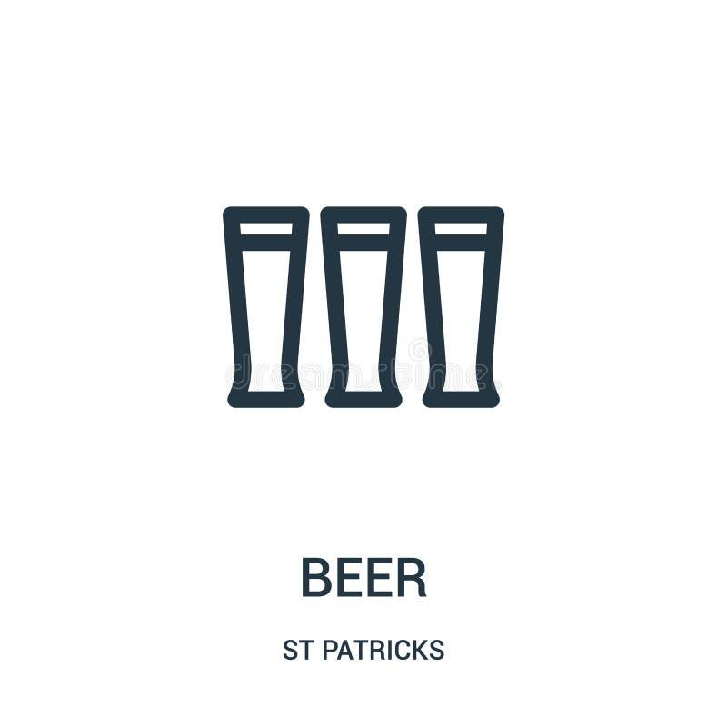 啤酒从st patricks汇集的象传染媒介 稀薄的线啤酒概述象传染媒介例证 线性标志为在网的使用和 库存例证