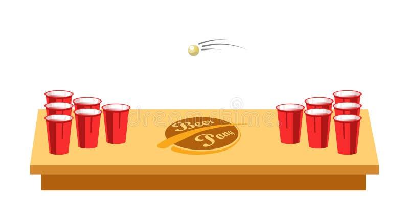 啤酒党的pong比赛在木桌上 皇族释放例证