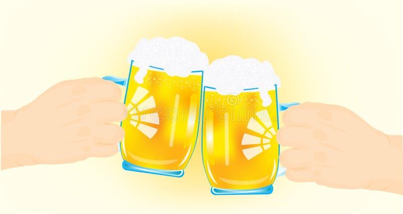 啤酒冷静现有量杯子二 库存例证
