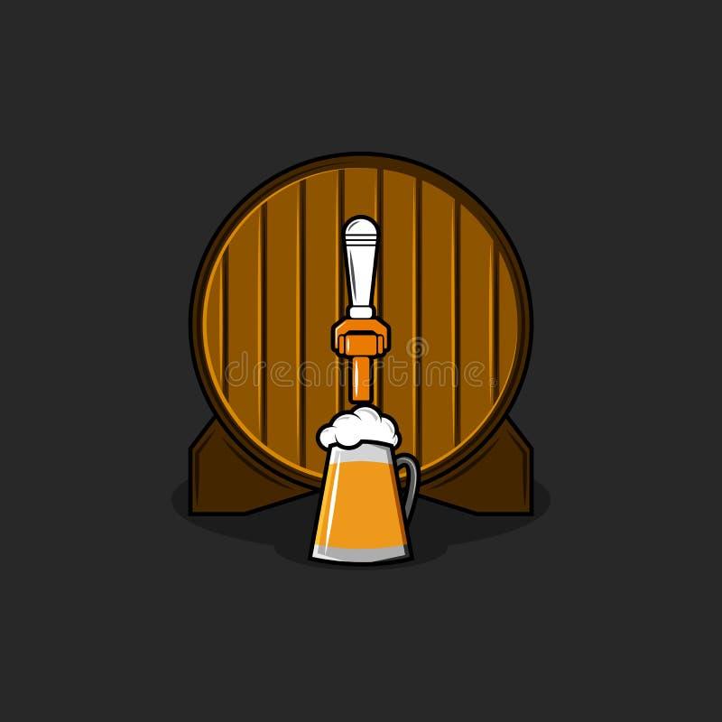 啤酒厂商标大模型、老木桶与古铜色轻拍和玻璃杯子有啤酒,前面圆形小桶视图泡沫的被隔绝  皇族释放例证