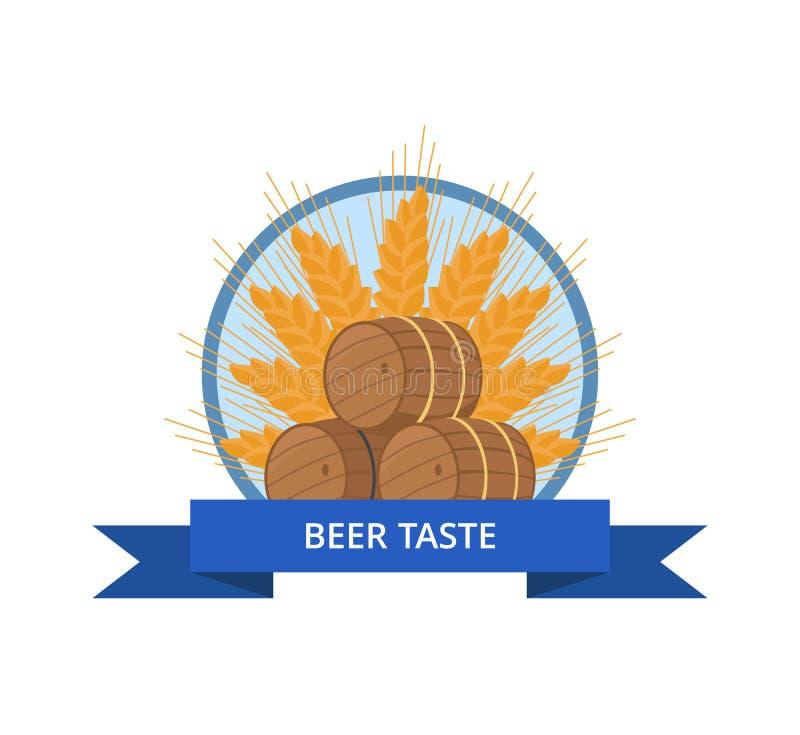 啤酒口味与木桶传染媒介的商标设计 皇族释放例证