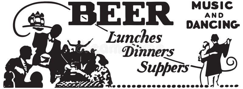 啤酒吃午餐晚餐晚饭 免版税库存图片