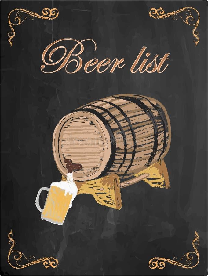 啤酒名单、啤酒杯和啤酒桶在黑板背景 向量例证
