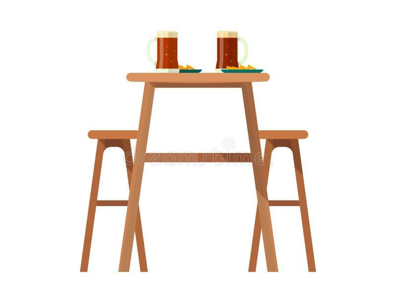 啤酒吧家具传染媒介啤酒厂用餐装备的桌和椅子与啤酒杯的在酒吧或客栈有啤酒味的党的与 向量例证