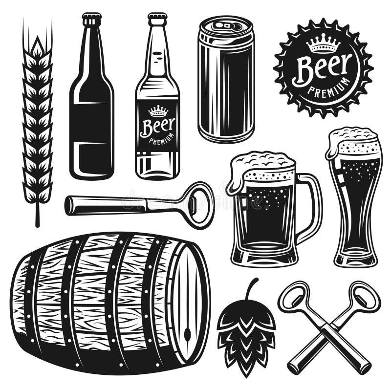 啤酒和啤酒厂套传染媒介染黑对象 库存例证