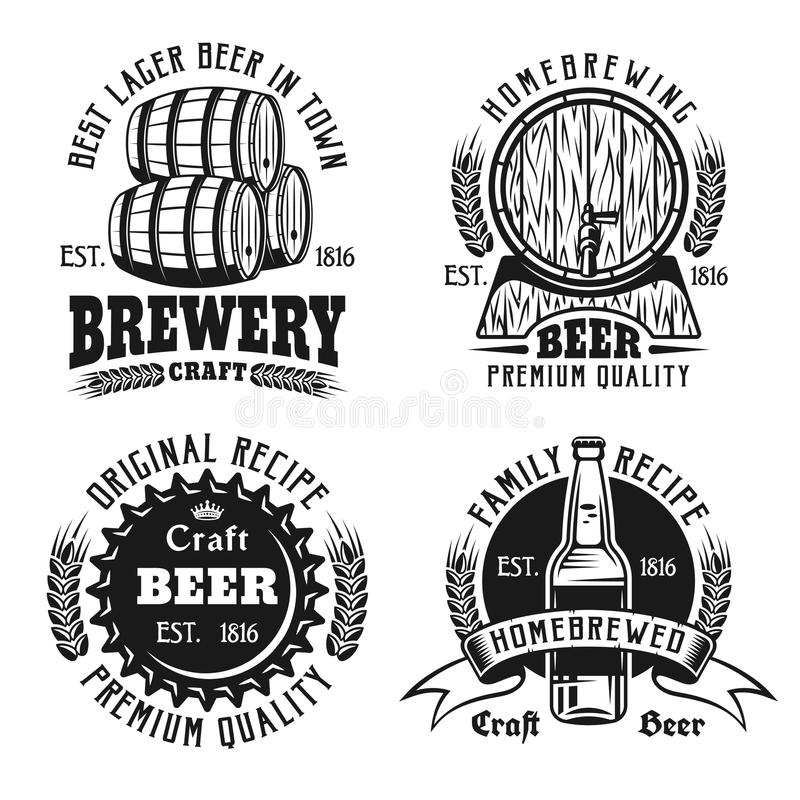 啤酒和啤酒厂葡萄酒象征,标签,徽章 向量例证