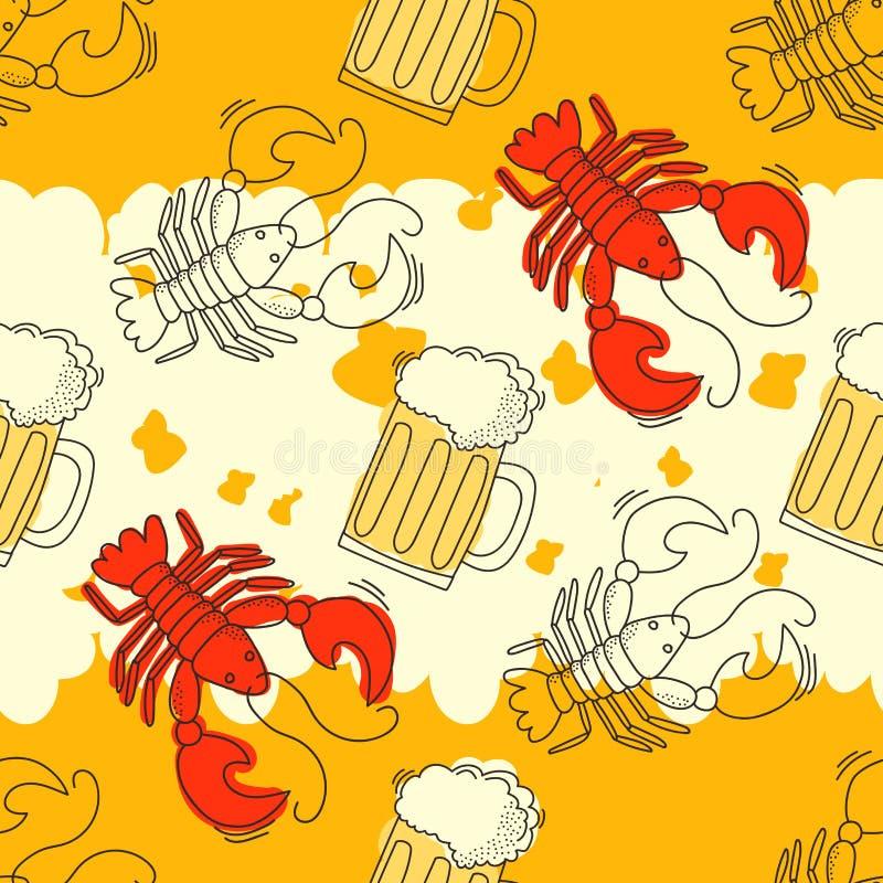 啤酒和小龙虾样式 向量例证