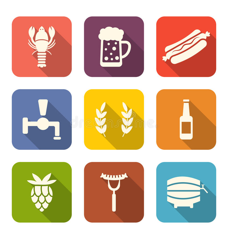 啤酒和快餐平的象 库存例证