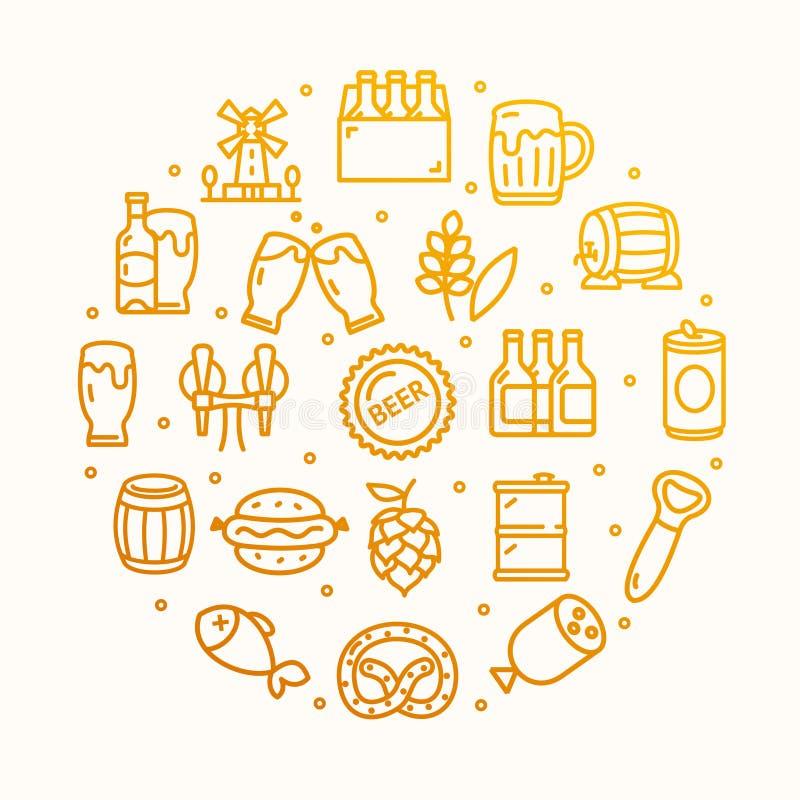 啤酒和慕尼黑啤酒节标志圆的设计模板稀薄的线象概念 向量 库存例证