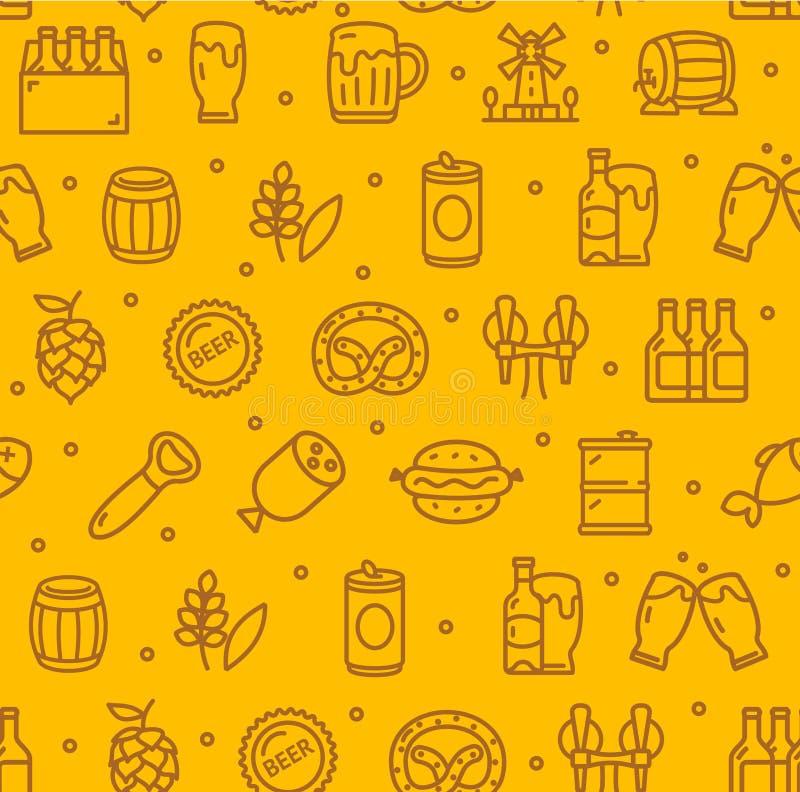 啤酒和慕尼黑啤酒节标志无缝的样式背景 向量 向量例证