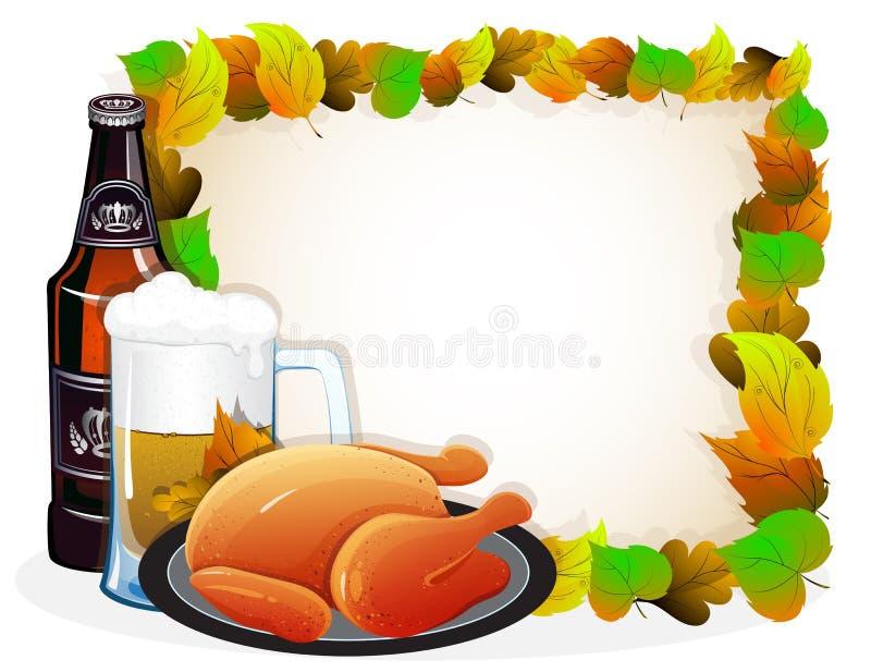 啤酒和炸鸡与秋叶 库存例证
