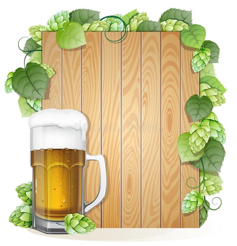 啤酒和蛇麻草在木背景 向量例证